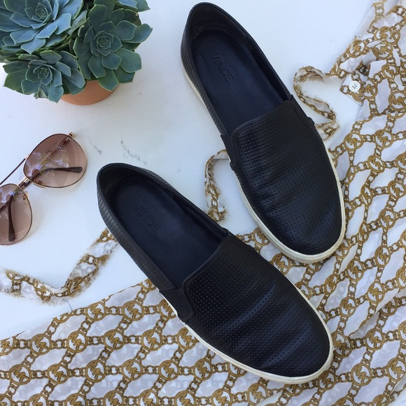 Vince Shoes - VINCE || 'Blair' Black Perforated Leather Slip On